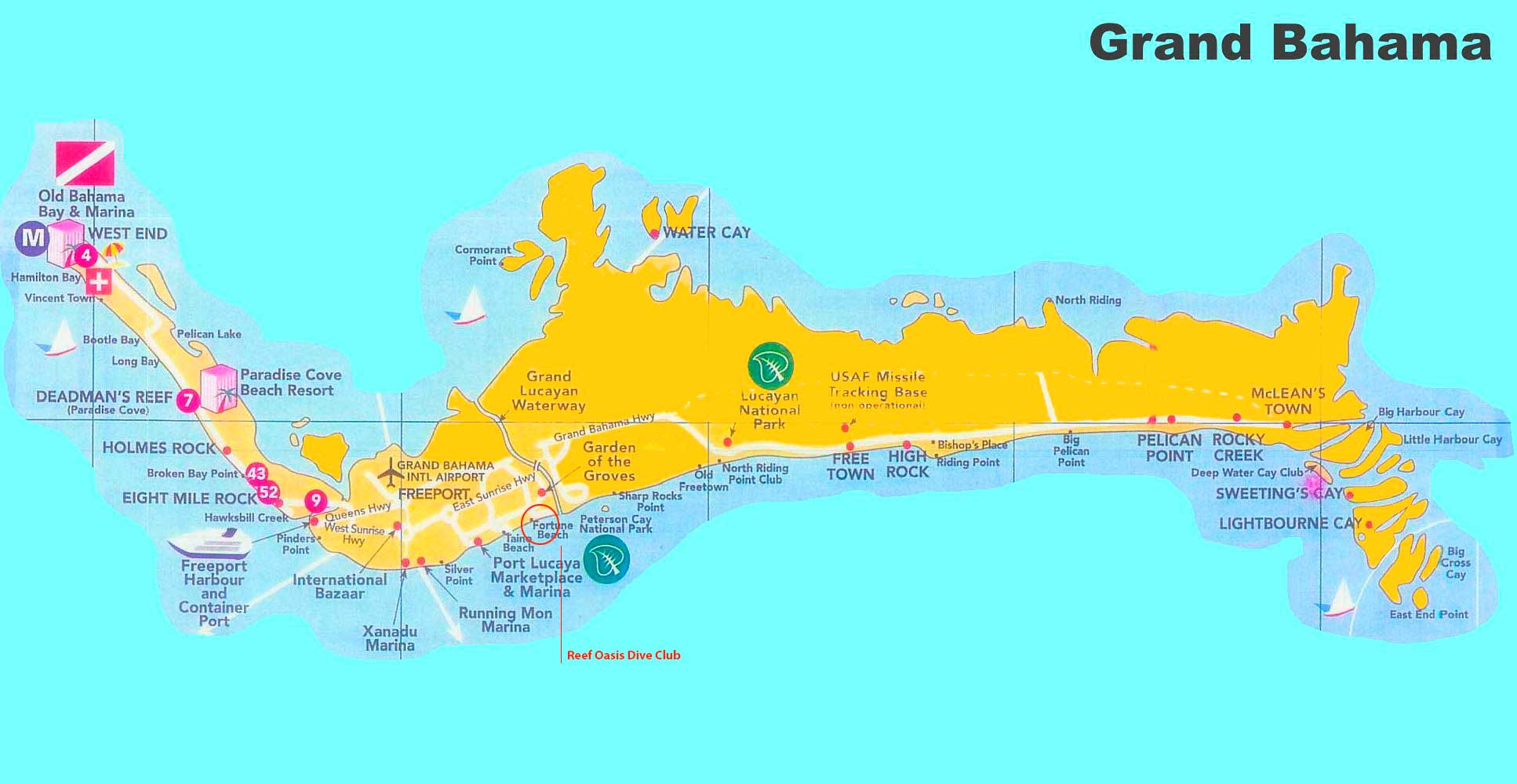 grand bahama tourist map